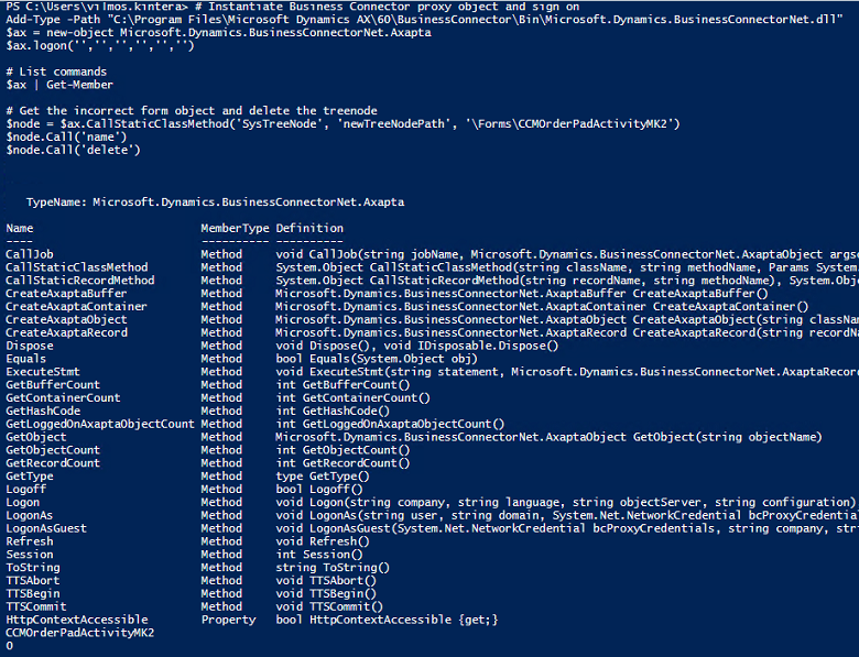 Change AOT objects without AX client using Business Connector in PowerShell